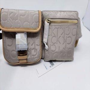 Belt Logo Tan/Grey/Gold Faux Leather Messenger Bag